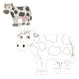 Connect the dots game cow vector illustration Stock Image