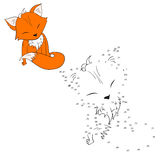 Connect the dots game fox vector illustration Stock Photo