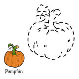 Connect the dots game: fruits and vegetables (pumpkin) Stock Photos
