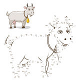 Connect the dots game goat vector illustration. Connect the dots to draw game goat vector illustration Royalty Free Stock Images