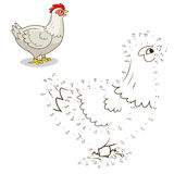 Connect the dots game hen vector illustration Stock Photos