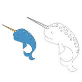 Connect the dots game narwhal  vector illustration Stock Images