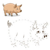 Connect the dots game pig vector illustration Royalty Free Stock Photo