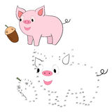 Connect the dots game pig vector illustration Stock Photos