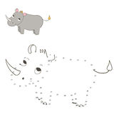Connect the dots game rhino vector illustration. Connect the dots game rhino cartoon doodle hand drawn vector illustration Stock Photos