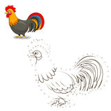 Connect the dots game rooster vector illustration Stock Photography