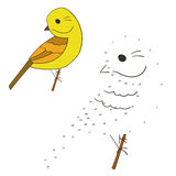 Connect the dots game yellowhammer bird vector Stock Image