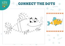 Connect the dots kids game vector illustration. Preschool children activity with joining dot to dot and coloring fish character stock illustration
