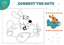 Connect the dots kids game vector illustration. Preschool children education activity. With joining dot to dot and coloring dog character vector illustration