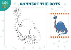 Connect the dots kids game vector illustration. Preschool children education. Activity with joining dot to dot and coloring dinosaur character vector illustration