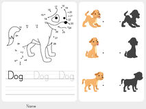 Connect dots and Match dog with shadow Stock Photo