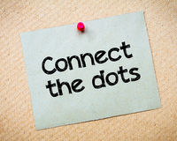 Connect the Dots. Message. Recycled paper note pinned on cork board. Concept Image Stock Image