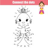 Connect the dots by numbers children educational game. Cute princess. Connect the dots children educational drawing game. Dot to dot by numbers game for kids stock illustration