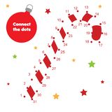 Connect the dots by numbers children educational game. New Year theme, Christmas candy cane. Christmas candy cane connect the dots game. Dot to dot by numbers royalty free illustration