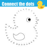 Connect the dots by numbers children educational game. Printable worksheet activity. Animals theme, baby bath duck toy. Connect the dots children educational Stock Illustration