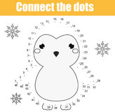 Connect the dots by numbers children educational game. Printable worksheet activity. Animals theme, penguin. Connect the dots children educational drawing game stock illustration