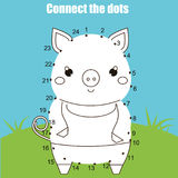 Connect the dots by numbers children educational game. Printable worksheet activity. Animals theme, pig. Connect the dots children educational drawing game. Dot royalty free illustration