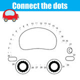 Connect the dots numbers children educational game. Printable worksheet activity. Connect the dots children educational drawing game . Dot to dot by numbers game Vector Illustration