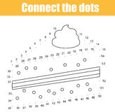 Connect the dots by numbers children educational game. Printable worksheet activity. Food theme. Drawing cake. Connect the dots children educational drawing game Stock Photography