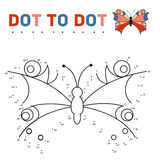 Connect the dots and paint a butterfly on a sample Royalty Free Stock Photos