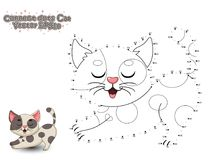 Connect The Dots and Paint Cute Cartoon Cat. Educational Game for Kids. Vector Illustration. royalty free illustration