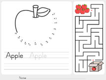 Connect dots and Pick apple box maze game - worksheet for education. Connect dots and Pick apple box of maze game - worksheet for education Royalty Free Illustration
