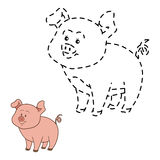 Connect the dots (pig). Game for children: Connect the dots (pig Royalty Free Stock Images