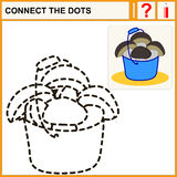Connect the dots. Preschool exercise task for kids, ceps in blue bucket Royalty Free Stock Image