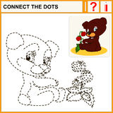 Connect the dots. Preschool exercise task for kids, cheerful Bear and strawberry Royalty Free Stock Photo