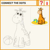 1015_1 connect the dots. Connect the dots, preschool exercise task for kids, cheerful giraffe Stock Photo