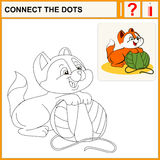 Connect the dots. Preschool exercise task for kids, cheerful kitten Stock Images
