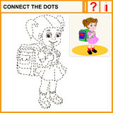 0416_23 connect the dots. Connect the dots, preschool exercise task for kids. Cute brown-haired girl with a satchel and his arm walking to school Royalty Free Stock Photos