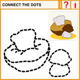 Connect the dots. Preschool exercise task for kids, cute edible mushrooms. Ceps Royalty Free Stock Photography