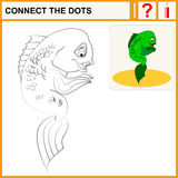 Connect the dots. Preschool exercise task for kids, cute exotic coral fish. Vector Royalty Free Stock Images