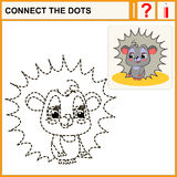 Connect the dots. Preschool exercise task for kids, funny hedgehog Royalty Free Stock Photo