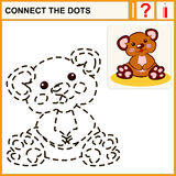 Connect the dots. Preschool exercise task for kids, funny plush bear toy Stock Photo