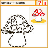Connect the dots. Preschool exercise task for kids, mushroom Stock Images