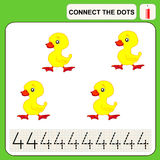 0116_43 connect the dots. Connect the dots, preschool exercise task for kids, numbers Royalty Free Stock Images