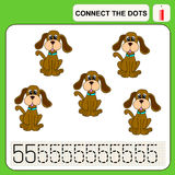 0416_53 connect the dots. Connect the dots, preschool exercise task for kids, numbers. Dog Royalty Free Stock Photo
