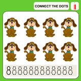 Connect the dots. Preschool exercise task for kids, numbers. Dog Stock Photography
