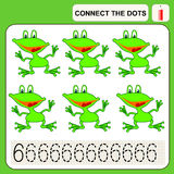 0416_65 connect the dots. Connect the dots, preschool exercise task for kids, numbers. Frog Stock Photos
