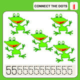 0416_54 connect the dots. Connect the dots, preschool exercise task for kids, numbers. Frog Stock Image