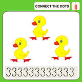 Connect the dots. Preschool exercise task for kids, numbers three Stock Images