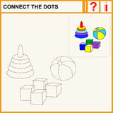 Connect the dots. Preschool exercise task for kids, toys Royalty Free Stock Photography