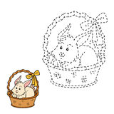 Connect the dots (rabbit in the basket) Royalty Free Stock Image