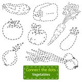 Connect the dots (set of vegetables), education game Royalty Free Stock Image