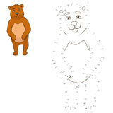 Connect the dots to draw animal educational game. Connect the dots to draw the animal educational game for children bear vector illustration stock illustration