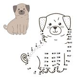 Connect the dots to draw the cute dog and color it Royalty Free Stock Image