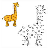 Connect the dots to draw the cute giraffe and color it. Educational numbers and coloring game for children. Vector illustration Stock Photo
