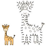 Connect the dots to draw a cute giraffe and color it Stock Images